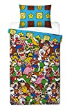 Official Nintendo Mario Gang 'Reversible' UK Single/US Twin Duvet Cover With Matching Pillow Case Bedding Set