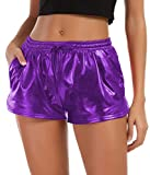 Tandisk Women's Yoga Hot Shorts Shiny Metallic Pants with Elastic Drawstring Purple S