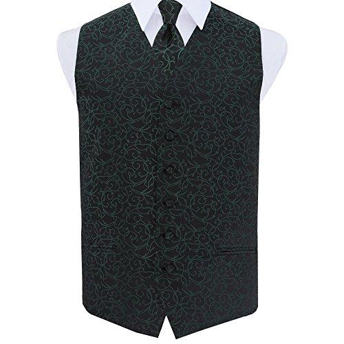Neck Black DQT Green Tie Wedding Patterned Swirl and Waistcoat Tuxedo Men's WZHrqYwO8H