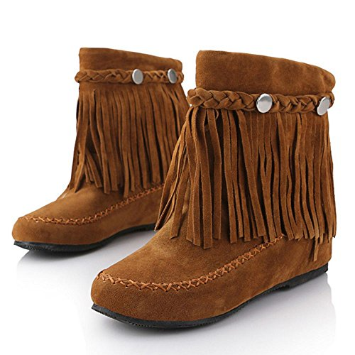 COOLCEPT Women Increasing Low Heel Bootie Shoes Fringe Ankle Boots Brown SLp3M