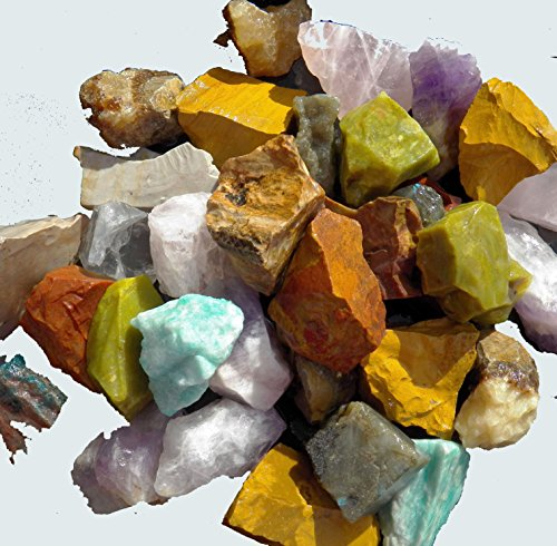 Fundamental Rockhound Products: AFRICA MIX Mixed Bulk Rough Rock for Tumbling Metaphysical Gemstones Healing Crystals * Wholesale Lot * ... Minimum 10 DIFFERENT Stones... Rose Qtz, Amethyst, Girasol Opal, Brecciated Jasper, Yellow Jasper, Blue Apatite, Green Opal and more (2 lb) (Mix Jasper)