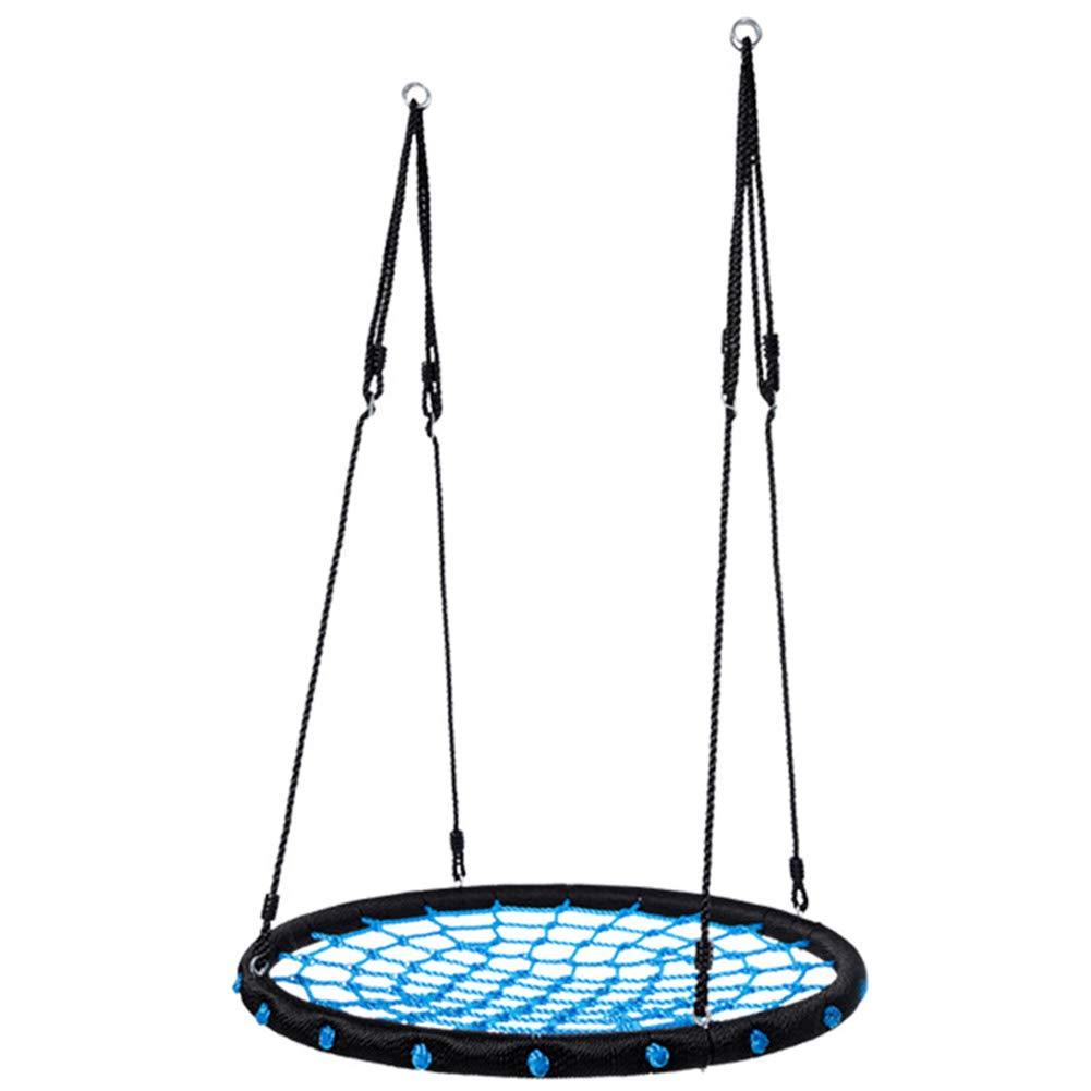 子供用スイングシート 子供用スパイダーウェブスイングチェア 円形 屋外の裏庭のおもちゃ クロウネスト調整式吊りロープ 青 B07S8V4RXT