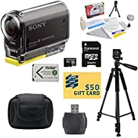 Sony HDR-AS30V HD POV Action Camcorder with Best Value Accessory Kit Includes - 16GB Micro SD Card + Card Reader + High Capacity Li-ion Battery + Hard Shell Carrying Case + Professional 60 Tripod + Lens Cleaning Kit including LCD Screen Protectors Photo Print