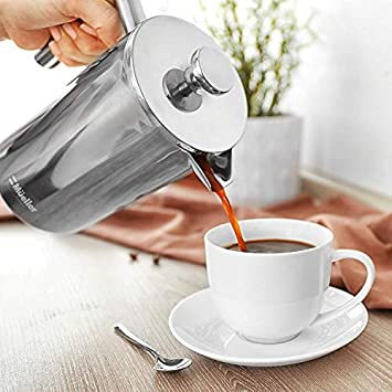 Mueller French Press Coffee Maker, 20 Heavier 18 10 Stainless Steel, Multi-Screen System, Rust-Free, Dishwasher Safe