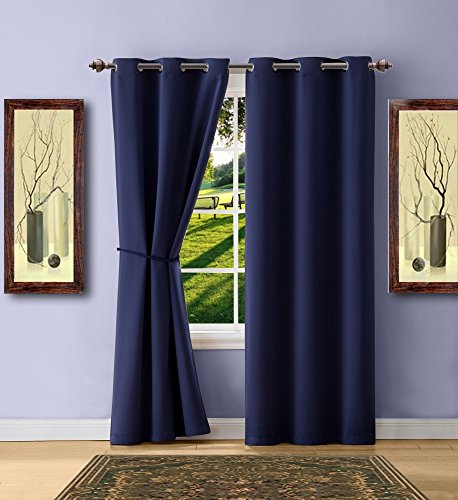 Cheap  Warm Home Designs 1 Pair (2 Panels) of Navy Blue Blackout Curtains..