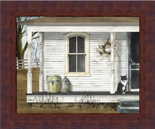 standing-guard-by-billy-jacobs-country-porch-cat-crocks-12x10-in-framed-art-print-picture