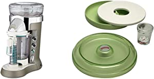 Margaritaville Bali Frozen Concoction Maker with Self-Dispensing Lever and Auto Remix Channel, DM3500 & AD2000 Salt Rimmer and Lime Serving Set, Green, 4-Piece