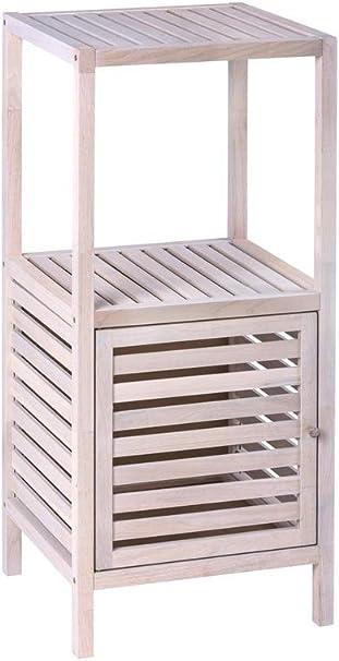 WENKO Estantería con puerta Norway blanco natural, Madera de nogal, 39.5 x 86 x 35.5 cm, Encalado blanco