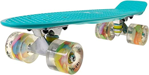 Complete Highly Flexible Plastic Cruiser Board Mini 22 Inch Skateboards for Beginners or Professional with High Rebound PU Wheels,Blue