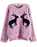 Emoyi Women Girl Ugly Christmas Shining Reindeer Snowflake Pullover Sweater Jumper (Pink)