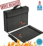 2 PCS Fireproof Bags for Docs&Valuables by QueenBird | Fire&Water Resistant Bag Set | 2 Different Sizes (15''x11''x2.5''+15''x11'' flat) | Double Layered | Silicone Coated Fiberglas | Zipper&Velcro Closure