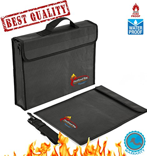 2 PCS Fireproof Bags for Docs&Valuables by QueenBird | Fire&Water Resistant Bag Set | 2 Different Sizes (15''x11''x2.5''+15''x11'' flat) | Double Layered | Silicone Coated Fiberglas | Zipper&Velcro Closure by QueenBird