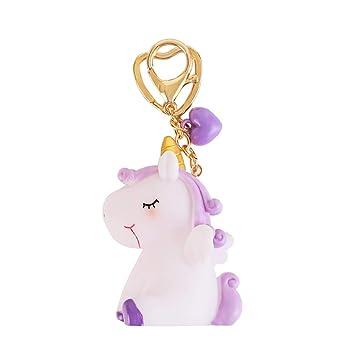 Amazon.com: TOYMYTOY Rubber Unicorn Keychain Cute Unicorn ...
