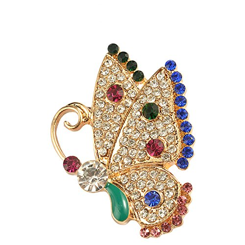 Alloy Inlaid Zircon Crystal Insect Brooch Pin Variety Optional, Lovely Creative Insects Brooch Fashion Jewelry (Butterfly)