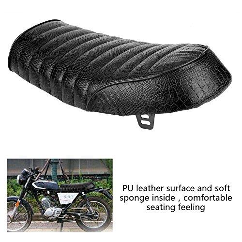 Qiilu Universal Motorcycle Modification PU Leather Vintage Cafe Racer Seat Flat/Hump Saddle Cushion (C) by Qiilu (Image #4)