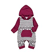 Unmega Baby Boy Girl Long Sleeve Romper Hooded Jumpsuit Onesie Multicolor 90 / 6-12 months