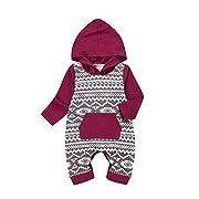 Baby Boy Girl Long Sleeve Romper Hooded Jumpsuit Onesie, Multicolor, 80 / 3-6 months Multicolor 80 / 3-6 months