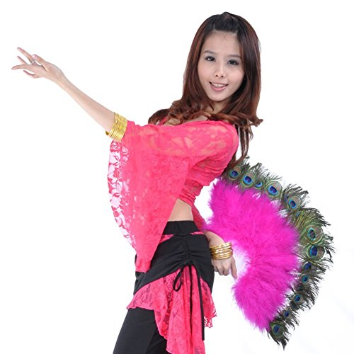 [AvaCostume Belly Dance Plastic Staves Peacock Feather Folding Fan, Rose red] (Dance Fans Costumes Accessories)