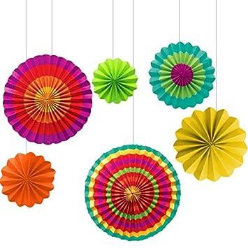 amscan fiesta paper fan decorations set of 6 - Fiesta Decorations