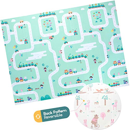 Baby Foam Play Mat - Foldable, Waterproof, Reversible Playmat for Toddlers and Kids