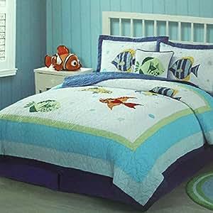 Brandream twin queen size kids boys blue ocean for Fish bedding twin
