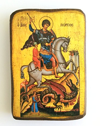 George Icon (Wooden Greek Christian Orthodox Wood Icon of Saint George Riding His Horse and Slaying the Beast / A0)