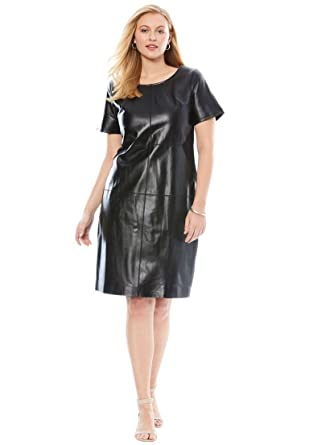 990a49a205e45 Jessica London Women s Plus Size Leather   Ponte Knit Sheath Dress with  Crew at Amazon Women s Clothing store