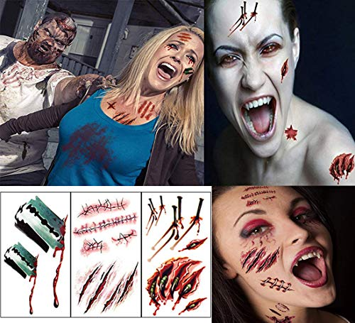 Zombie Makeup Tattoos, Halloween Scar Tattoo, Zombie Makeup Kit, Scar Tattoo, Halloween Makeup Kit, Fake Blood Makeup Fake Scars Cuts, Vampire Makeup, Safe Makeup for Kids (14 Sheets)