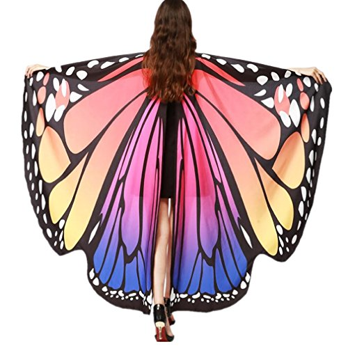 VESNIBA Halloween/Party Prop Soft Fabric Butterfly Wings Shawl Fairy Ladies Nymph Pixie Costume Accessory (168X135CM, B-Hot Pink) -