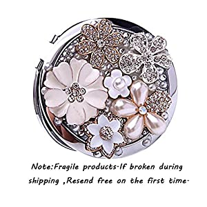 Brendacosmetic Round Handmade Flower Pearl Rhinestone Compact Pocket Mirror Portable Travel Mirror ,Stainless Steel Frame Double-sided 2X Magnifying Mirror Makeup Mirror as Gift for Friend.