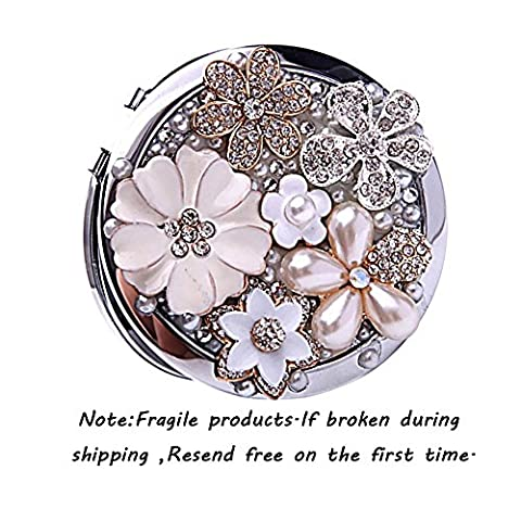 Brendacosmetic Round Handmade Flower Pearl Rhinestone Compact Pocket Mirror Portable Travel Mirror ,Stainless Steel Frame Double-sided 2X Magnifying Mirror Makeup Mirror as Gift for - Neiman Marcus Suits