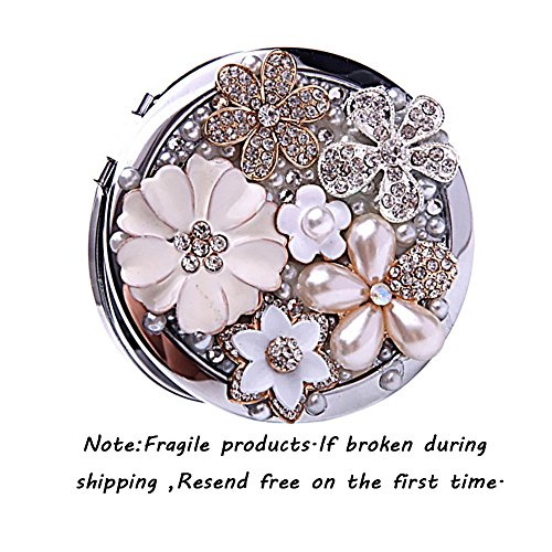 Brendacosmetic Round Handmade Flower Pearl Rhinestone Compact Pocket Mirror Portable Travel Mirror ,Stainless Steel Frame Double-sided 2X Magnifying Mirror Makeup Mirror as Gift for - Compact Dior Mirror