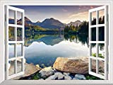 wall26 Removable Wall Sticker/Wall Mural - Peaceful Lake in Autumn | Creative Window View Wall Decor - 24''x32''