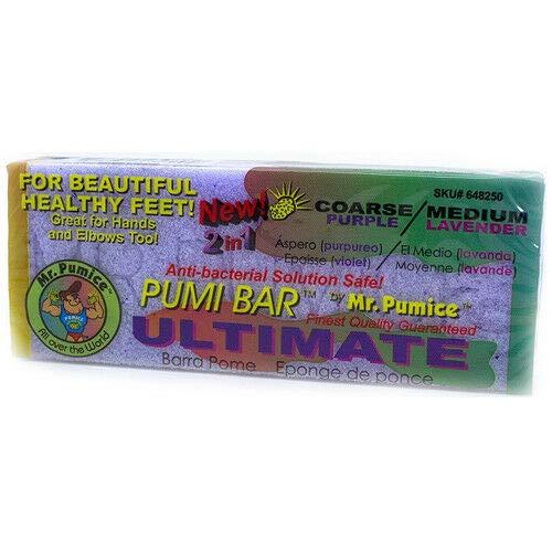 Mr. Pumice Ultimate Pumi Bar 2 in 1 (Coarse/Medium), Lavender/Purple, 1 piece - Extra Coarse Pumice Gel