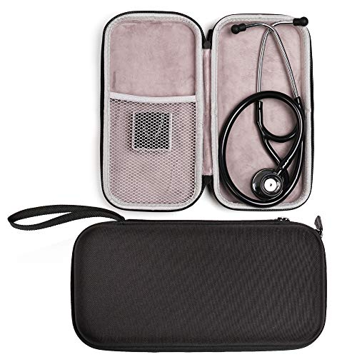 Stethoscope Carrying Case for Stethoscope 3M Littmann Classic III, Cardiology IV Diagnostic, MDF, ADC, Hard Case with Handle, Includes Medical LED Penlights and Mesh Pocket for Nurse Accessories