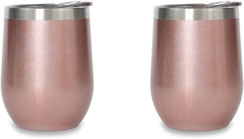 Ice Shaker Insulated Wine Tumbler With Lid - Stainless Steel Wine Glass - 12 oz Wine Tumbler Great For Hot Or Cold Beverages (Rose Gold) | Gronk Ice Shaker Product