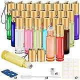 Glass Roller Bottles, 24 Pack 10 ml Essential Oil Roller Bottles with Stainless Steel Roller Balls (3 Dropper, 6 Extra Roller Balls, 2 Bottle Opener)