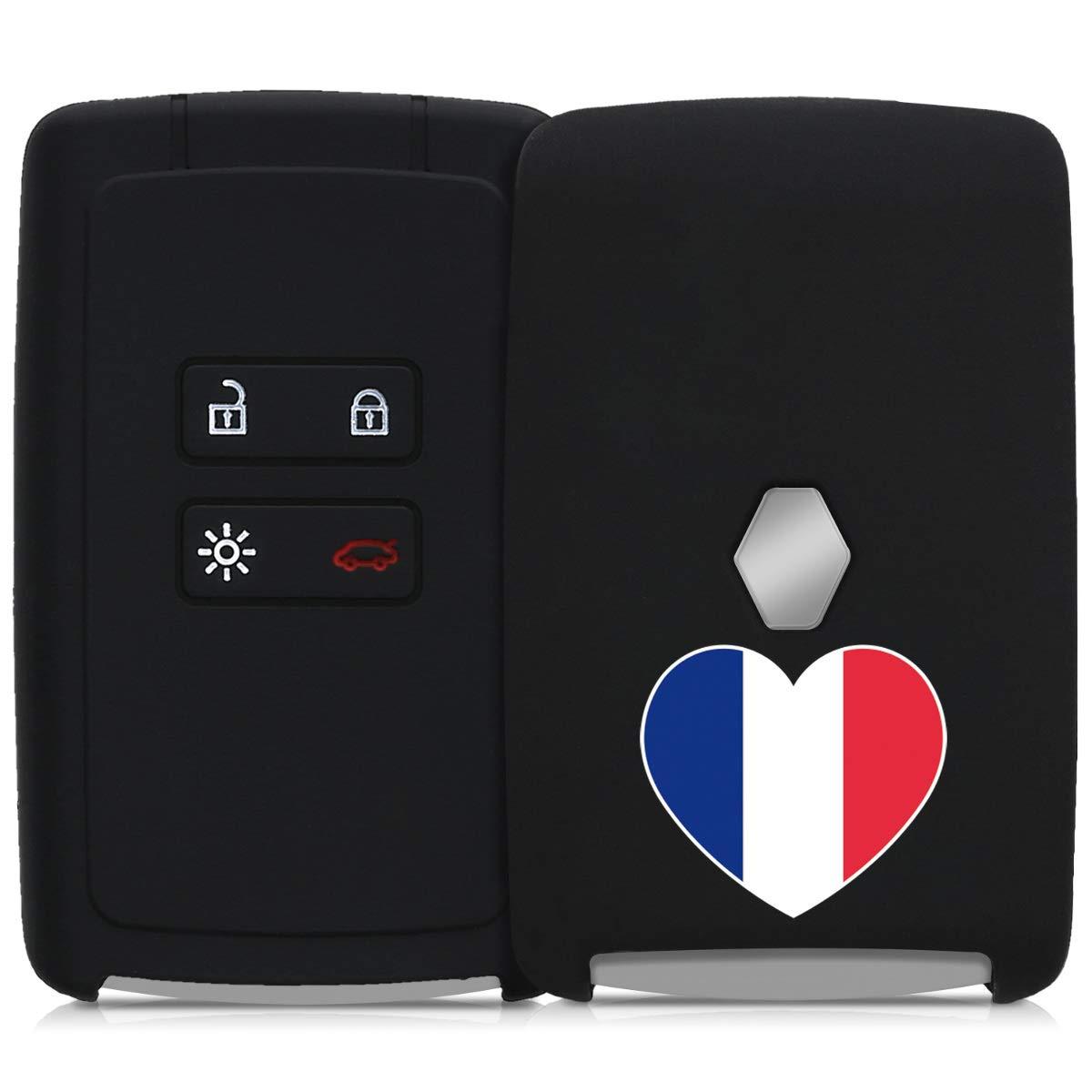 - Case Mando de Auto - Carcasa Protectora Suave kwmobile Funda de Silicona para Llave Smart Key de 4 Botones para Coche Renault Silicona Solamente Keyless Go Azul de