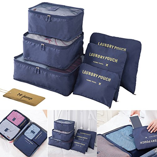 M-jump 6 Set Travel Luggage Organizer Packing Cubes, Laundry Bags & Digital Pouch, Luggage Compression Pouches(Navy Blue)