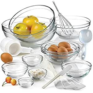 Anchor Hocking 10-piece Glass Mixing Bowl Set Different Size - Large to Small. Beautiful, Compact Bowls Set.