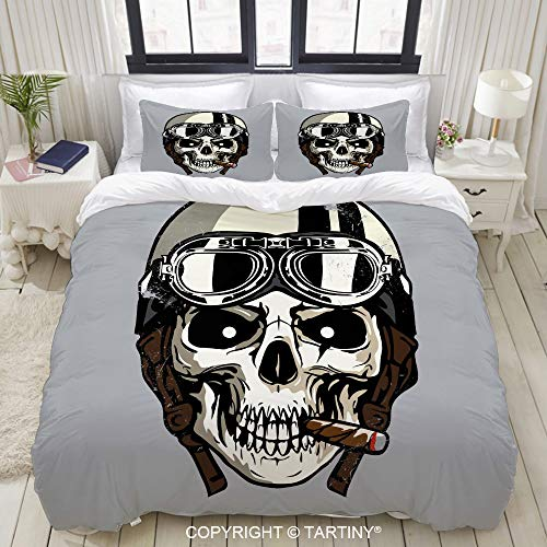 TARTINY Duvet Cover Set, Hand Drawing Skull Wearing Motorcycle Helmet, Decorative 3 Piece Bedding Set with 2 Pillow Shams