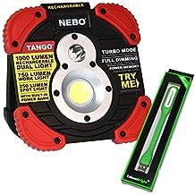 Nebo Tango 1000 lumen rechargeable work light (Worksite light) 6665 with EdisonBright USB powered reading light bundle