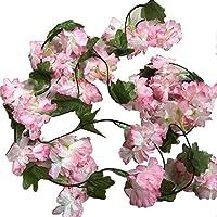pittospwer 2 piezas flor de cerezo Guirnalda de ratán Guirnalda Fiesta Jardín Navidad Boda Decoración Blue: Amazon.es: Jardín