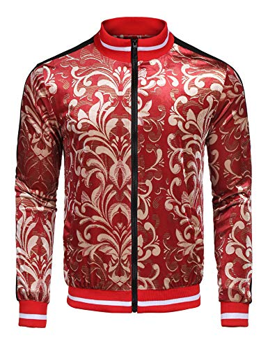 COOFANDY Men's Bomber Baseball Jacket Slim Fit Zip Up Track Jackets Red