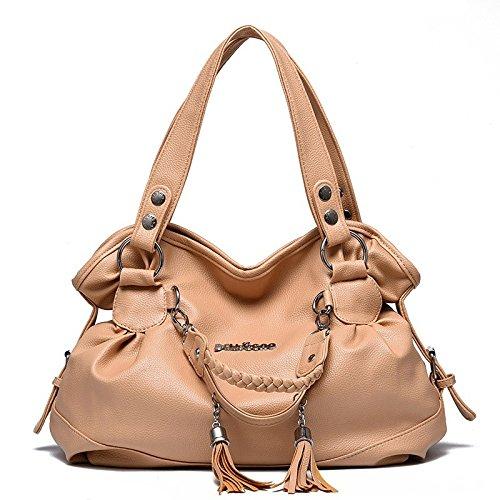 manera del la de doble cuero bolso Bolso capacidad de manera las de Khaki del bolso la grande saco de mujeres hombro manija con la de la simple de qqnz7wFtSA