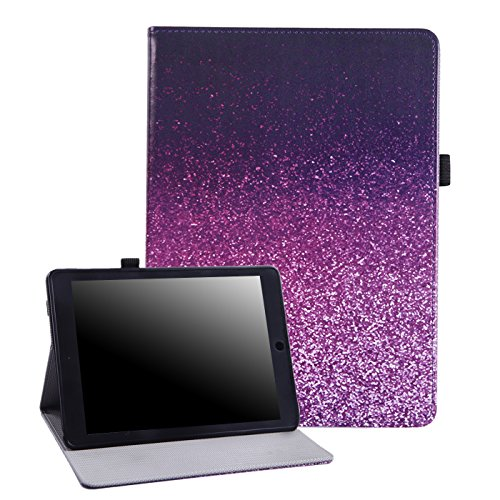 HDE Case for New iPad 9.7 (2018/2017) - Leather Folio Cover Slim Fit Smart-Shell Multi-Angle Vintage Stand for iPad 9.7 Inch (5th and 6th Generation) (Pink Glitter)