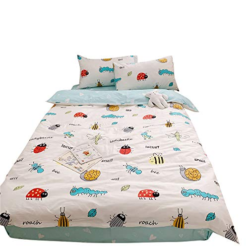 MICBRIDAL Cartoon Ladybeetle Duvet Cover with Two Pillow Covers, Boys Girls Kids Cartoon Cotton Bedding Set Cute Animal Bee Snail Locust Comforter Cover with Zipper Closure Twin Size