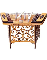 Mini Wooden Yangqin Desktop Decoration, Small Musical Instrument Model for Office/Study/Cabinet, Special Creative Gifts