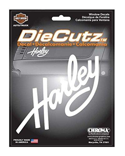 Harley-Davidson Die Cutz Harley Script Decal, White Vinyl CG40002 Die Cutz Car Decal