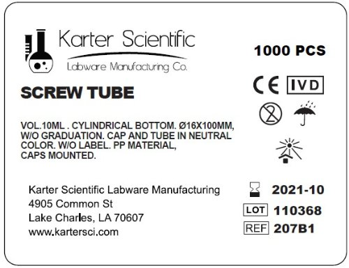 16x100mm Test Tubes, PP Plastic, Round Btm, 10ml Vol, Screw Top, Karter Scientific 207B1 Case of 1000)